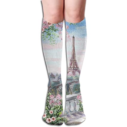 999fe957ff3 Eiffel Tower Rose Women s Compression Stockings Novelty Knee High Socks  Sports Long Sock