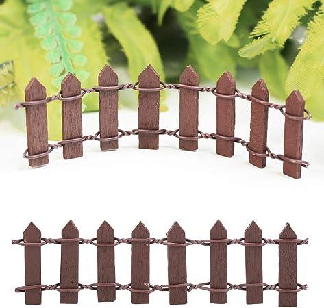 Cercado de jardín - Decoración de jardín Mini Cerca de Madera, Barrera para macetas, para Adornos en Miniatura, 100 Piezas (Color : Café): Amazon.es: Hogar