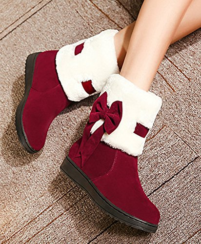 Shoes High On Slip Tops Flats Aisun Non Red Toe Wine Ankle Slip Booties Bows With Women's Cute Snow Round Warm 8gqcvRzZg
