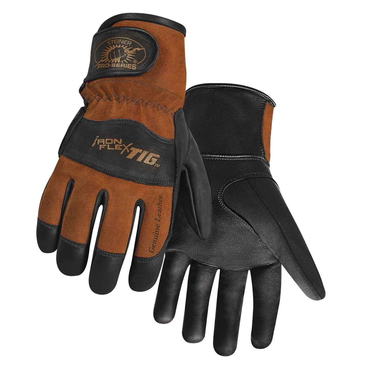 Steiner 0262-L SPS Ironflex TIG Gloves, Black Premium Grain Kidskin, Brown Reversed Grain Kidskin Back, Adjustable, Large by Steiner