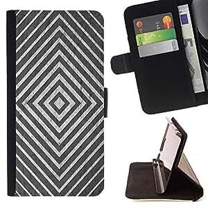 ForSamsung Galaxy S3 MINI i8190 (NOT S3) Case , Minimalista Blanco Negro Líneas de plata- la tarjeta de Crédito Slots PU Funda de cuero Monedero caso cubierta de piel