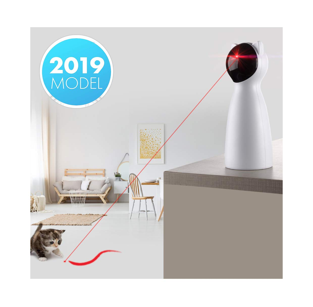 Yvelife Cat Laser Toy Automatic,Interactive Toy for Kitten/Dogs - USB Charging,Placing Hign,5 Random Pattern,Automatic On/Off and Silent (P01), White, Medium by Yvelife