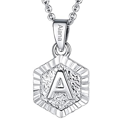4714525d6 Custom Name Necklace A-Z 26 Letters Pendants Platinum Plated Hexagon Script Monogram  Initial Jewelry Stainless Steel
