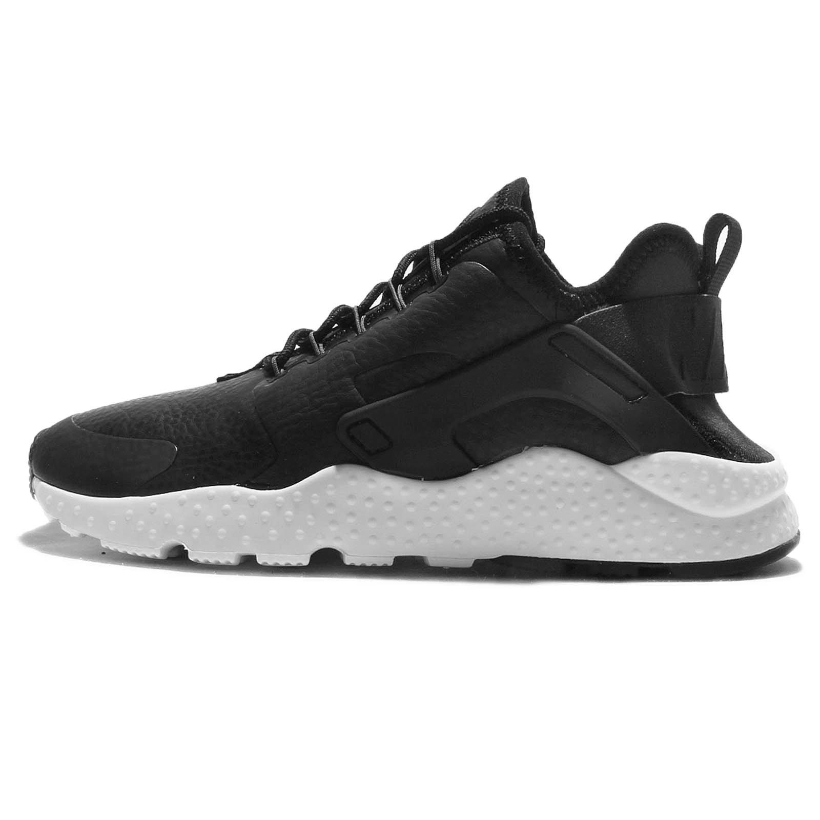 Nike WMNS Air Huarache Run Ultra Premium 859511 001 Black Leather White Gym Shoe