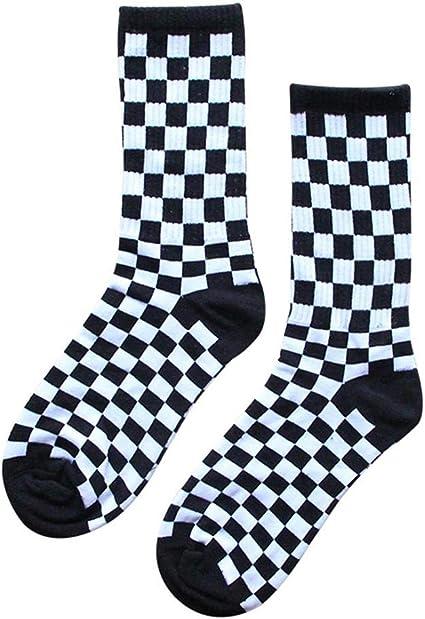 Oshide Calcetines a Cuadros en Blanco y Negro Calcetines Deportivos de algodón para Hombres y Mujeres Medias Hip Hop Personalizadas: Amazon.es: Coche y moto