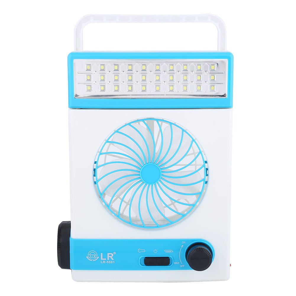 Dilwe Solar Fan Light, Mulitifunctional Rechargeable LED Light Cooler Lamp Solar Panel Power Tent Fan For Home Use Outdoor Camping