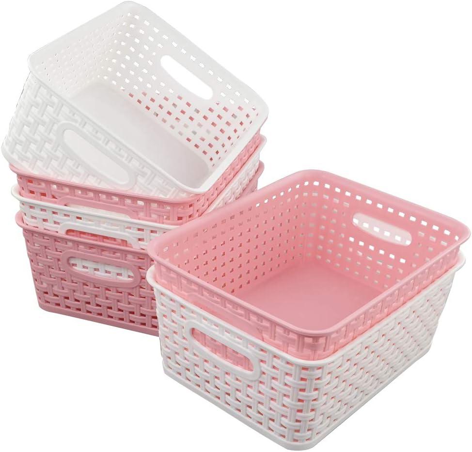 Vareone Cestos Cestas Organizadoras de Almacenamiento de Plástico Rectangular, Color Rosa y Blanco, Paquete de 6 Unidades