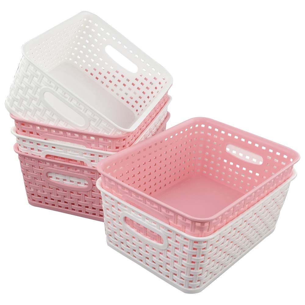 Vareone 3 Pink and 3 White Plastic Woven Storage Baskets Organizer Vareoner