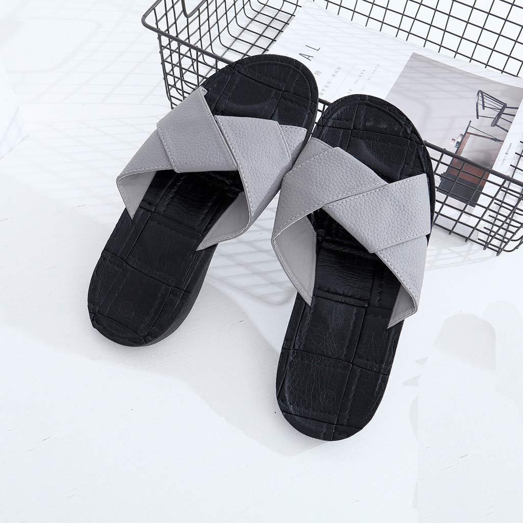 kaifongfu Summer Mens Cross-Strap Slippers Open Toe Sandals Non-Slip Flat Beach Slippers Shoes