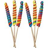 "Jumbo Rainbow Twist Swirl Lollipop, Mixed Fruit Flavor, Individually Wrapped, 10"" Inch Sucker (6-Pack)"