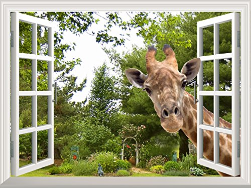 Wall26 Creative Wall Sticker – A Curious Giraffe Sticking Its Head into an Open Window | Cute & Funny Wall Mural – 36″x48″