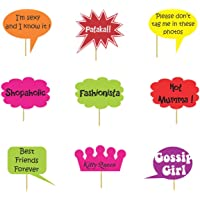Untumble kitty party photo props for ladies,made of art board,multicolor - Set of 9