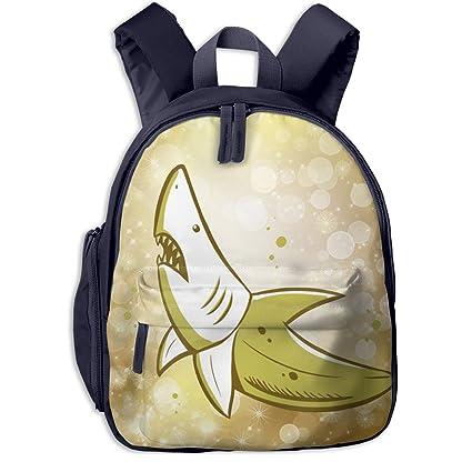 6b888e7f804a Amazon.com: Withbbts Banana Shark Small Kids Backpack School ...