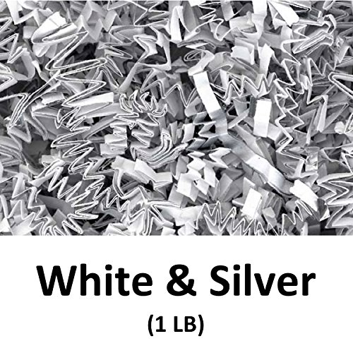 Crinkle Cut Paper Shred Filler (1 LB) for Gift Wrapping & Basket Filling - White & Silver | MagicWater Supply by MagicWater Supply