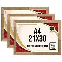 Kit 3 Porta Certificados 21x30 Moldura A4 para Certificado Foto Parede Natural Tingido