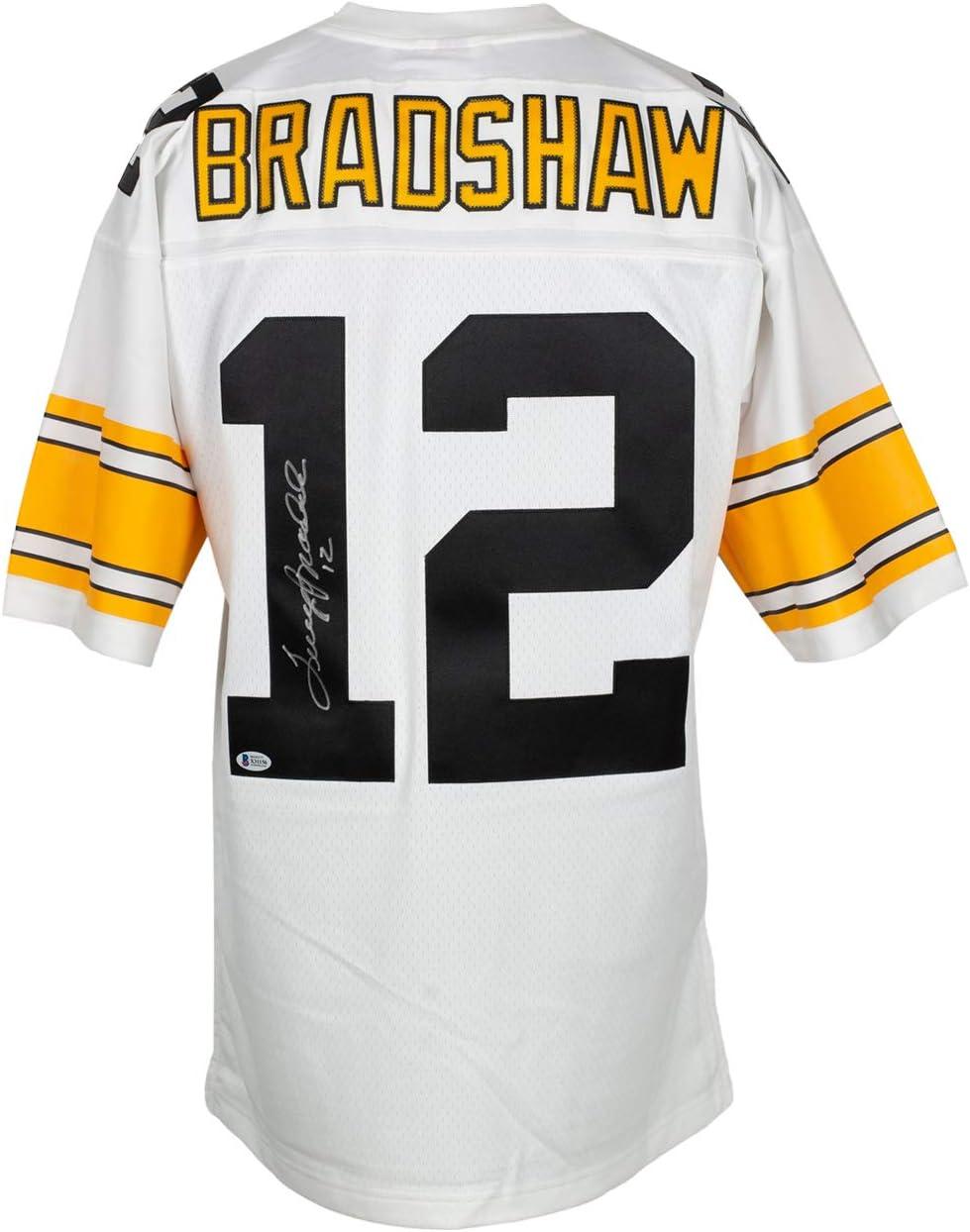 Terry Bradshaw Signed Pittsburgh Mitchell & Ness Football Jersey BAS