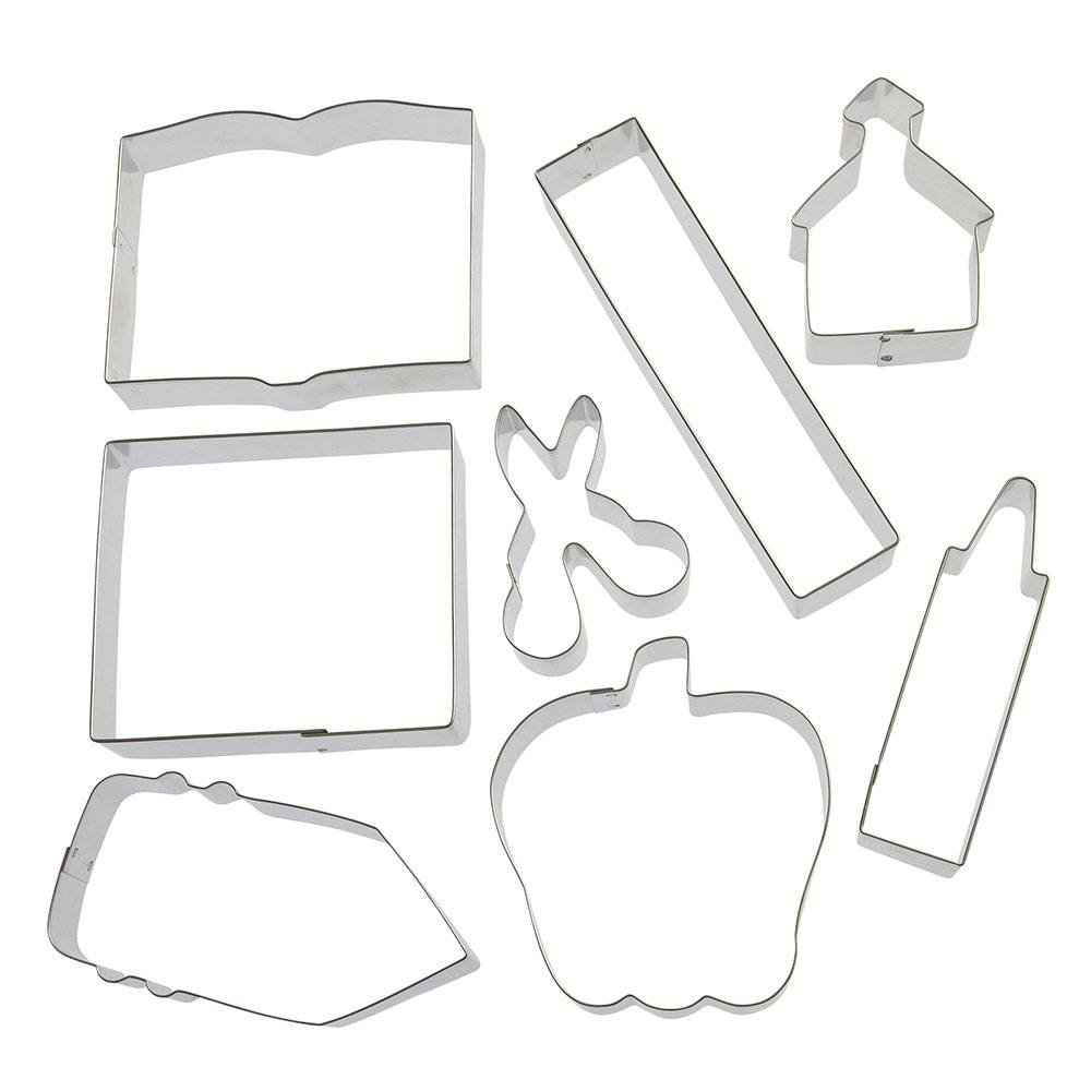 Back To School Teacher Appreciation 8 Pc Cookie Cutter Set HS0426-4.25 in Text Book, 6 in Ruler, 4.25 in Crayon, 4 in Note Pad, 3 in Scissors, 3.25 in Schoolhouse, 4 in Apple, 4.5 in Pencil. - Foose by Foose (Image #1)