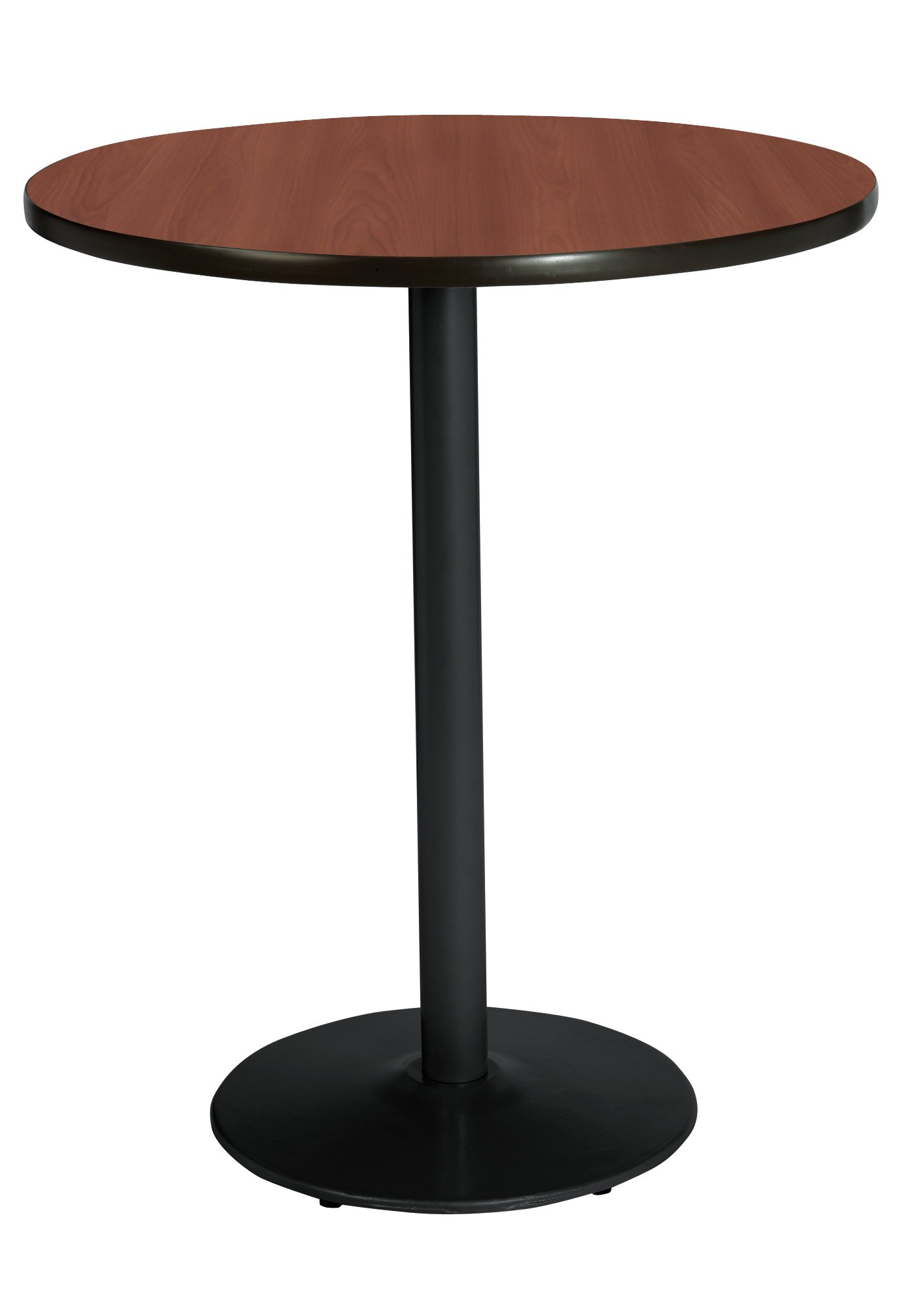 KFI Seating Bistro Height Round Black Base Pedestal Table with Top, Mahogany, 30''