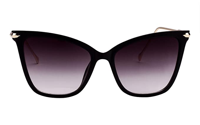 26ca49c3fc8 Beison Womens Cat Eye Transparent Frame Mod Sunglasses Eyeglasses (Black