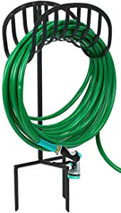 Sorbus Manger Holder Stand for Garden, Lawn, Yard, Decorative Water Storage with Ground Stakes, Holds 125-Feet of 5/8-Inch Hose