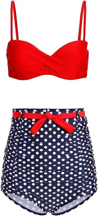 2-TLG. Set Pretty Attitude Polka Dot P/ünktchen Retro Pinup Vintage Damen Bikini mit hoher Taille und t/ürkisem Oberteil