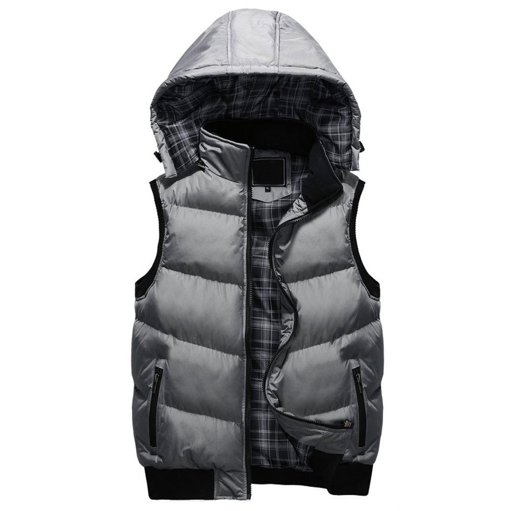 Stand Collar with Removable Hood Winter Warm Vest Grey US Size XL(Tag Size 3XL) 1388-06-Grey-3XL