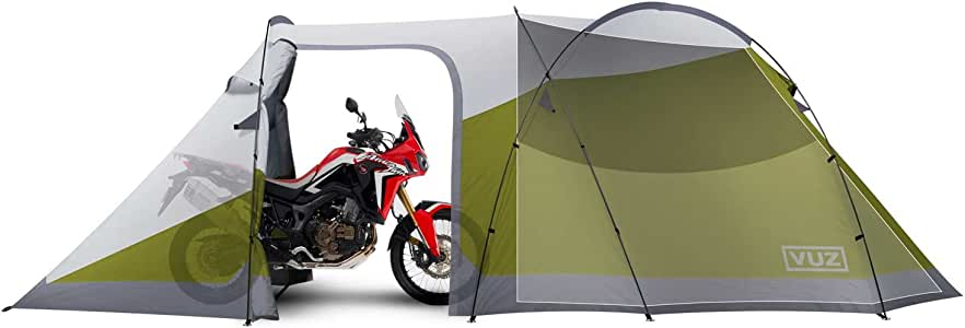 Vuz Moto Waterproof Motorcycle Tent - 12-Foot Integrated Motorcycle Tent with 3-Person Space for Camping, 4 Points of Entrance/Easy Set-Up Motorbike Camping Tent