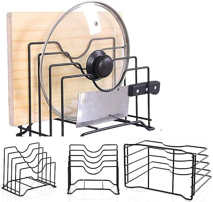Stainless Iron Cutting Board Holder Wire Stand Organizer Pot Lid Rack Organizer fit for Kitchen Cabinet Rack Storage