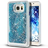Liquid Case for Samsung Galaxy S7,Creative Design Floating Bling Glitter Sparkle Diamond Hexagon Stars Hard Plastic Case for Samsung Galaxy S7(Sky Blue)
