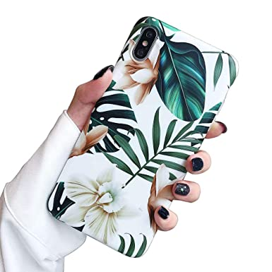 I Phone Xs Max Case For Girls, Ooooops Green Leaves With White & Brown Flowers Pattern Design, Slim Fit Clear Bumper Soft Tpu Full Body Protective Cover Case For I Phone Xs Max 6.5'' (Leaves & Flowers) by Ooooops