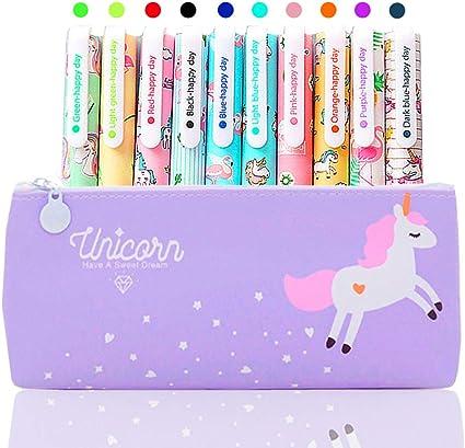 Idée Cadeau Fille 9 10 Ans Licorne Trousse avec 10 Couleurs Stylo Gel Cadeau pour Enfants