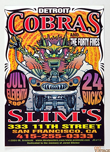 Detroit Cobras Poster 2004 Jul 11 Slim's San Francisco Mark Arminski