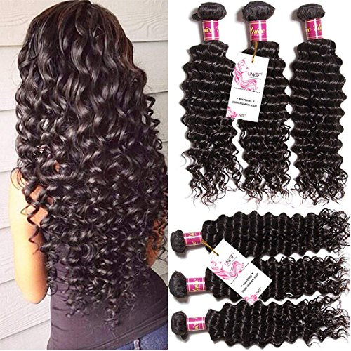 Unice Hair 3 Bundles Brazilian Virgin Hair Deep Wave Hair Extensions 7a Grade Unprocessed Human Hair Wave Natural Color Can Be Dyed and Bleached (18 20 22)