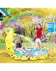 Herefun Splash Pad, 170 cm sprinkler speelgoed, Splash Play mat, waterspeelgoed, tuin, zomer, tuin, trampoline, voor kinderen, familie, feestjes in de buitenlucht