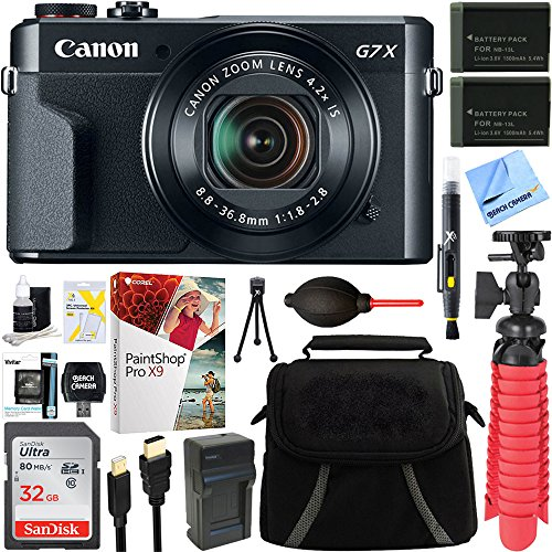 Canon PowerShot G7 X Mark II 20.1MP 4.2x Optical Zoom Digital Camera + Two-Pack NB-13L Spare Batteries + Accessory Bundle