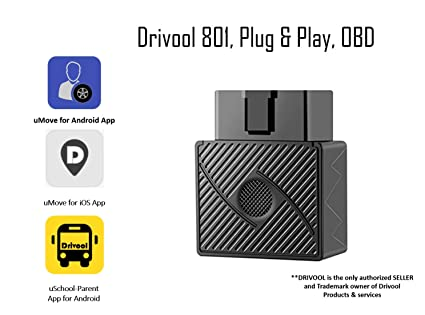 Drivool 801 OBDII GPS tracker, Plug and Play Tracking Device with  on