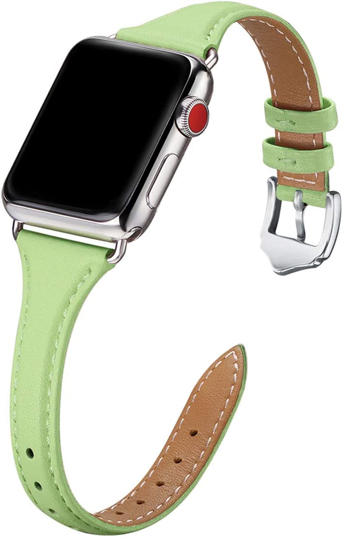 WFEAGL Leather Bands Compatible with Apple Watch 38mm 40mm, Top Grain Leather Band Slim & Thin Replacement Wristband for iWatch Series 5/4/3/2/1 (MintGreen Band+Silver Adapter, 38mm 40mm)