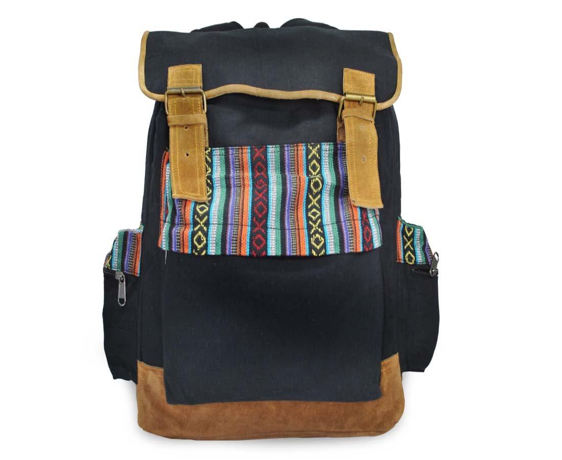 Mato Canvas Backpack Travel Hiking Rucksack Boho Bohemian Laptop School Bag Tribal Aztec Pattern Black