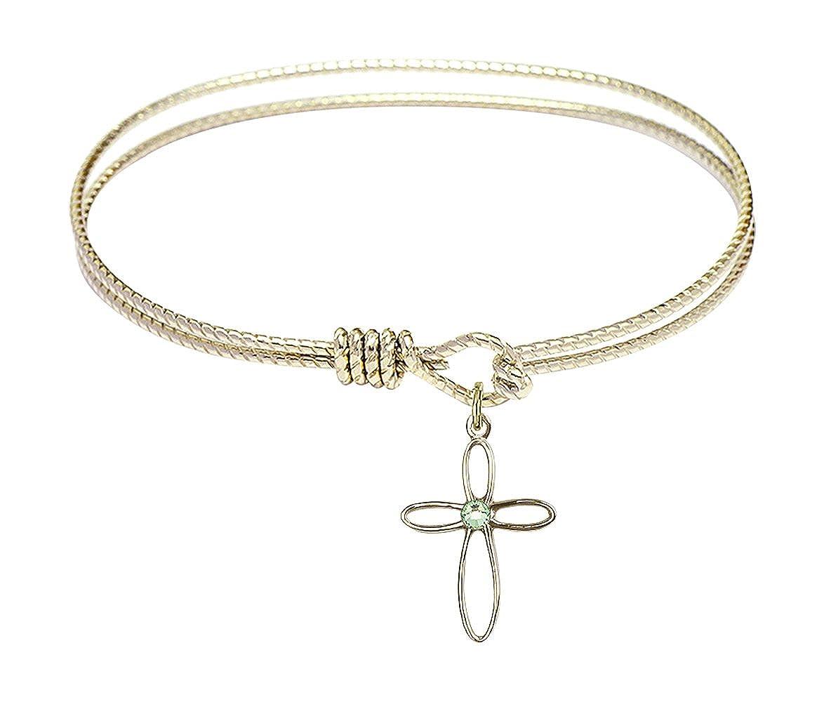 Loop Cross Charm On A 7 Inch Oval Eye Hook Bangle Bracelet