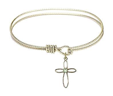 Cross Charm On A 7 1//4 Inch Oval Eye Hook Bangle Bracelet