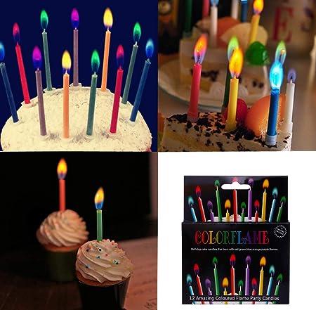 velas de colores llama, 12 unidades de colores vivos ...