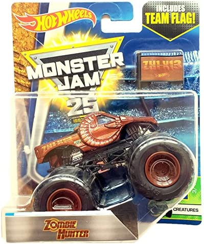 Amazon Com Hot Wheels Monster Jam Zombie Hunter With Team Flag 2017 Toys Games