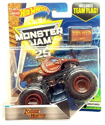Hot Wheels Monster Jam Zombie Hunter con la bandera del equipo 2017