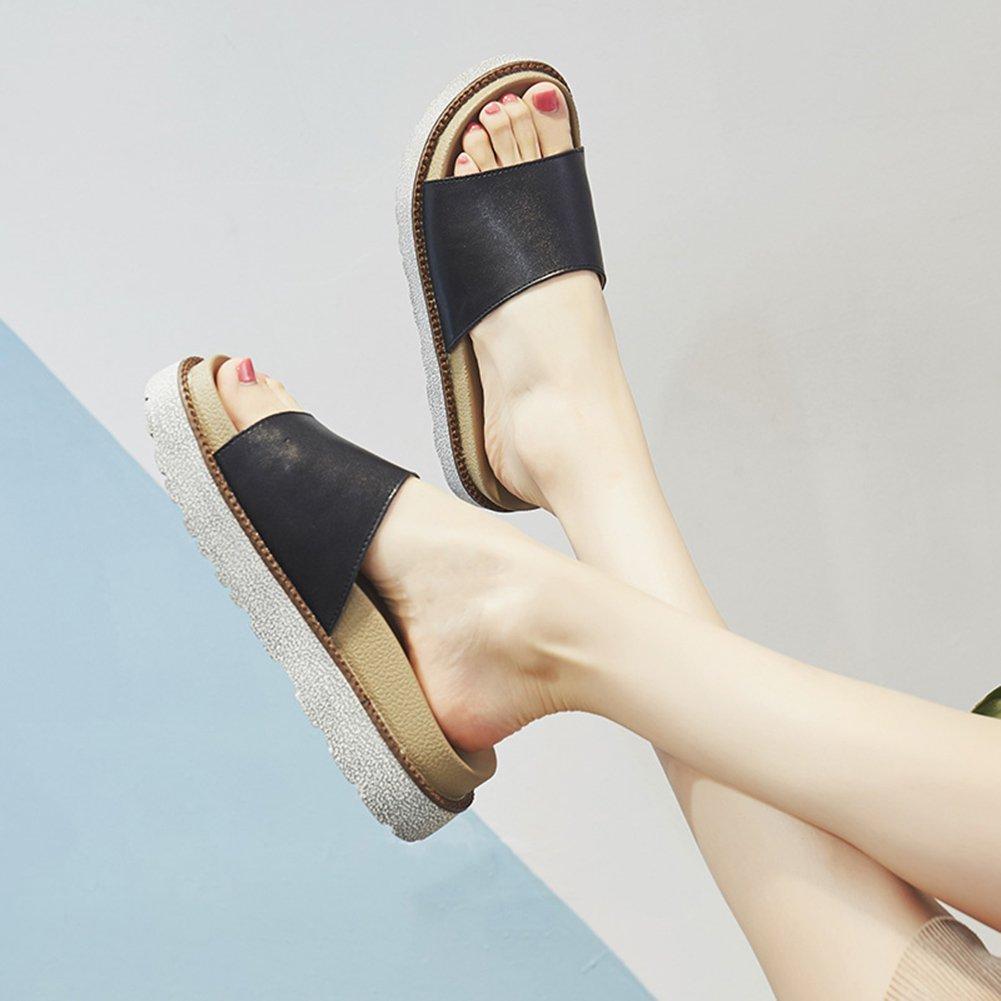 PENGFEI Pantofola Zapatillas Verano De Las Mujeres Fondo Grueso Todos Los Partidos Playa Antideslizante, Altura del Tacón 5CM, 2 Colores (Color : Negro, Tamaño : EU39/UK6/US7.5/245) EU39/UK6/US7.5/245|Negro