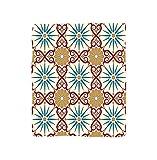 VROSELV Custom Blanket Moroccan Eastern Islamic Sacred Geometry Art Figures with Classic Damask Elements Image Soft Fleece Throw Blanket Mustard Beige