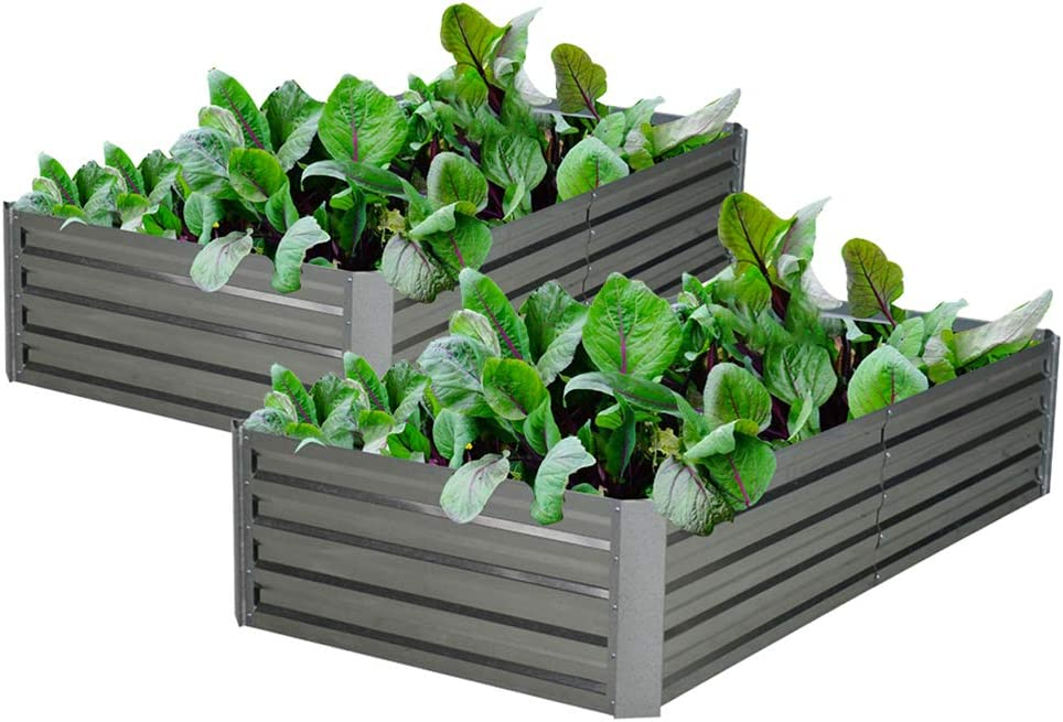 Galvanized Steel Raised Garden Bed Kit Extra Height Elevated Planter Box Steel Large Vegetable Flower Bed Kit (3.3 x 6.6 x 1.3 Ft, Sliver---2 Pack)