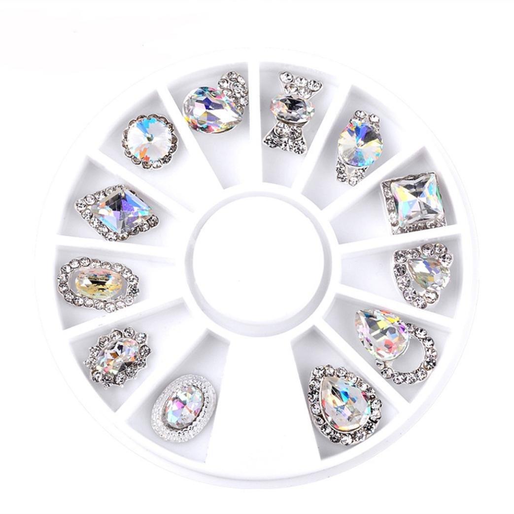 Sensail Carrousel 3D Strass Rose Dore Rivet Perle Metal Punk Bijoux Cristal Pour Decoration Ongles Nail Art Manucure (D)