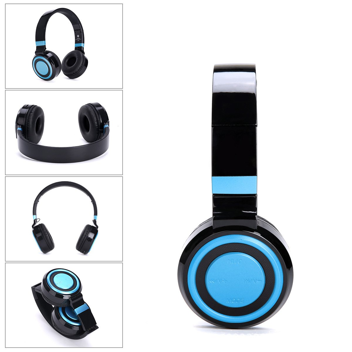 MOOSENG Bluetooth Headphones Over Ear Hi-Fi Stereo Wireless Headset Foldable Soft Memory-Protein Earmuffs with Built-in Mic and Wired Mode for PC/Cell Phones/TV by MOOSENG