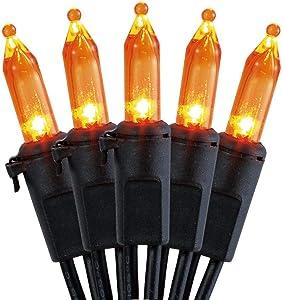 100 Count Halloween String Light Set - Orange Mini Incandescent Lights