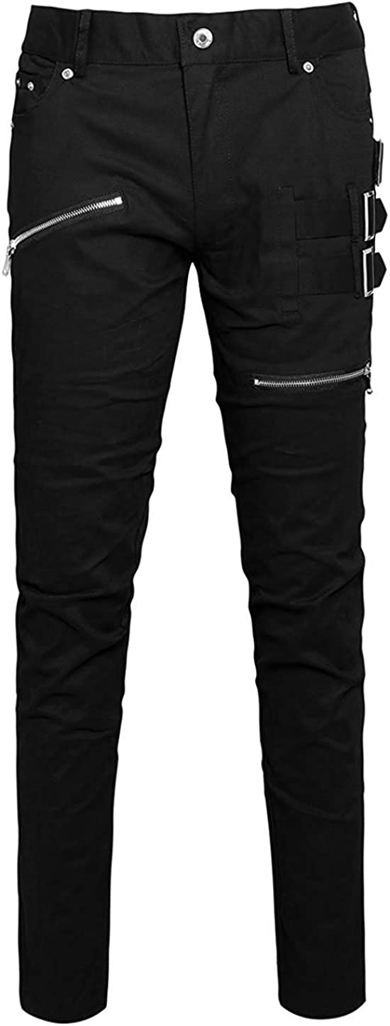uxcell Men Casual Slim Fit Punk Gothic Pockets Patch Buckle Zipper Pants Trousers